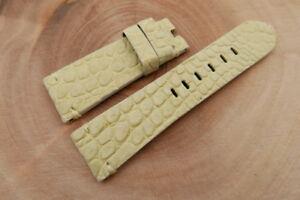 26mm/22mm Beige Genuine Nubuck CROCODILE,ALLIGATOR Leather Watch Strap Band