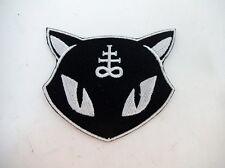 Black Kitty Cat Leviathan Cross Iron On Patch Satanic Baphomet GOTH Metal Punk