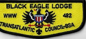 OA Black Eagle Lodge 482  BSA Flap BLK Bdr. Transatlantic Council [MX-7849]