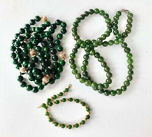 "Natural Green Nephrite Jade 23"" & 32"" Beaded Necklace & 7.25"" Bracelet Lot/Set"