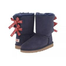 NEW UGG BAILEY BOW BANDANA BOOTS SIZE 5 Y WOMENS SIZE 7 NAVY BLUE RED