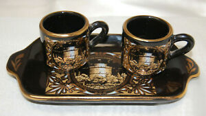 Takoussis Tea Set  2 Small Cups and Tray 24k Gold Accents Moschato Greece  S9066
