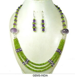 464 Cts Natural Untreated Green Peridot,Purple Amethyst Beaded Designer Necklace