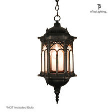 Matte Black Medieval Style Outdoor Hanging Porch Light Lantern Weather Resistant