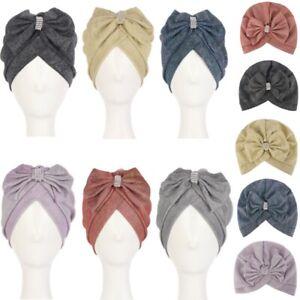 Lady Multicolor Fashion Big Bow Rhinestone Headwear Turban Cap Soft Hijab Hat