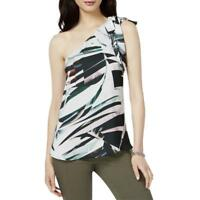 NEW Bar III Women's Printed One Shoulder Top Black Combo Medium MSRP $59.50