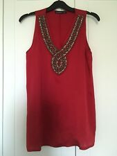 Ladies Red Sleeveless Beaded Vest Top Size 10 Primark Party Special Occasion