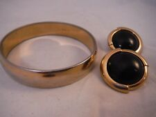 Vintage Monet thick Bangle Bracelet and earrings Costume Jewelry Heaven Box A