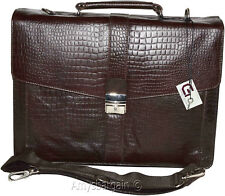 New Crocodile Skin Printed Leather Briefcase Brown Business case Attaché sac bag
