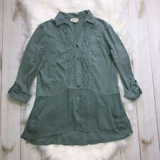Anthropologie Meadow Rue Button Down Chiffon Shirt W/ Pockets Teal Small Blouse