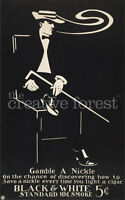 Black And White Cigar Smoking Vintage Poster Rolled Canvas Giclee 24x36 in.