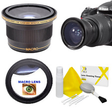 55MM  HD X38 FISHEYE  LENS + MACRO LENS + KIT For NIKON D3400 D5600 4K 8K VIDEO