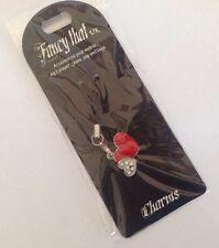 ** NEW ~ Fancy That ~ Mobile MP3 Handbag Keys ~ Charm ~ Twin Heart Design **