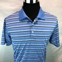 Adidas Golf Climacool Blue White Gray Stripped Short Sleeve Polo Large LLL2