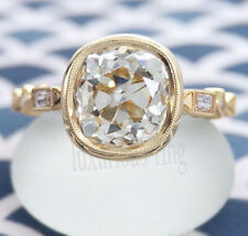 10k Solid Yellow Gold Ring 2.06 Ct Off White Cushion Real Moissanite Engagement