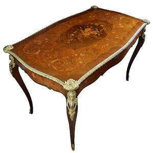 TABLE BUREAU meuble Empire clock bronze horloge antique cartel pendule acajou