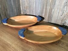 2 Large Bamboo Serving Bowls With Glazed Pottery Handles, K6