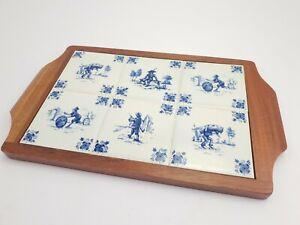 Vintage Serving Tray Blue White Handpainted Ceramic Porcelain Delft Tiles