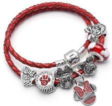 Disney Mickey Pandora & Minnie Mouse Heart Charm Leather Bracelet Free Shipping