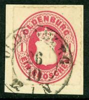 Germany 1862 Oldenburg 1 Gr Rose Red Roulette 11½ SG #34 VFU G231 ⭐⭐⭐⭐⭐