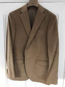 €1250 LARDINI Suit Size 52 Camel Cord Stretch 3 btn Notch Lapel Cotton Cashmere
