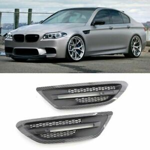 For BMW F10 5-Series M5 11-16 Carbon Black Fender Side Grille Cover Marker Trims