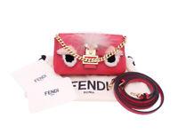 Auth FENDI Monster Micro Baguette Shoulder Bag Red/Pink Leather/Fur - e42855