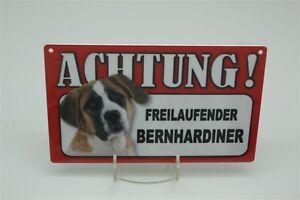 BERNHARDINER - Tierwarnschild - VORSICHT  Warnschild 20x12 cm Schild 6