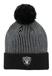 Oakland Raiders NFL Youth Boy's 8-20 Team Cuffed Knit Pom Caps Hats