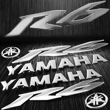 """x2 5.75"""" 3D Logo+Letter Decal+6"""" Fairing Emblem Sticker for YZF-R6/R6S Chromed"""