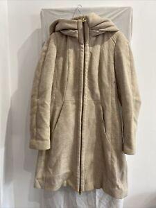ZARA Beige Wool Blend Hooded Coat Size EUR L