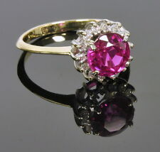 Ladies 14k Yellow Gold Synthetic Ruby & 1/3 Ct Diamond Halo Estate Ring