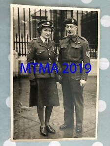 WW2 PRESS PHOTOGRAPH BRITISH ATS GIRL GETS BEM FROM KING - GLIDER PILOT HUSBAND