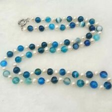 String White Freshwater Pearl Blue agate Stone Necklace Long 30 inches