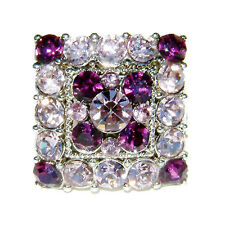 w Swarovski Crystal Bridal Party ~PURPLE DRAG QUEEN Square~ Adjustable Ring XMAS