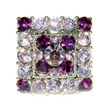 w Swarovski Crystal Bridal Party ~PURPLE DRAG QUEEN Square~ Adjustable Ring XMAS