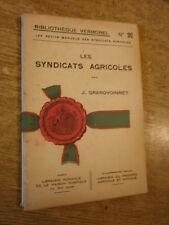 Grandvoinnet Les syndicats agricoles Biblio Vermorel manuel syndicats agricoles