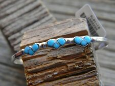 """Sterling silver 9 turquoise babies braclet 3 hearts 4"""" long 1"""" gap"""