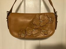 Nine West Small Handbag Purse Tan with Floral Accent Silver Tone Buckle on Side