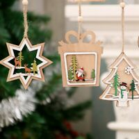 Wooden Christmas Xmas Tree Pendant 3D Embellishments Hanging Party Decoration k