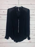 Free People Women's S Small Black Button Embroidered Long Sleeve Cute Top Blouse