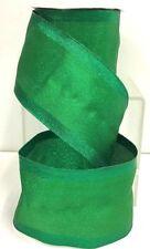 """Metallic Satin Wired Edge Ribbon~Green~2 1/2"""" W x 10 yd"""