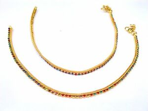 PAIR Indian Bollywood Payal Gold Tone Anklet Chain CZ Bracelets Fashion Jewelry