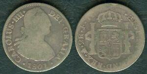 1801 Mexico 2 Reales FM King CARLOS IIII DEI GRATIA SILVER Coin RARE DATE