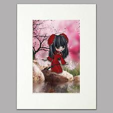 "Little Oriental Fairy Print women & red/pink Mounted Wall Art A4 12 x 16"""
