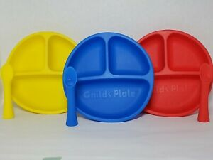 3 Section Silicone Plates & Matching Spoons - 3 Pack Blue Red Yellow - For Kids