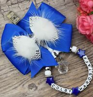 Personalised stunning pram charm in baby Royal girls boys rhinestone bling