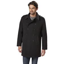 Men's Outdoor Spirit Double-Breasted Dress Coat Black XL #NKMK4-G4