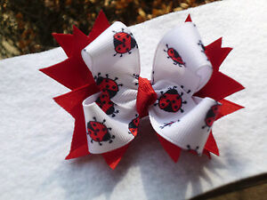 Hair Bow A very cute Ladybug with Red spiks hair bows on a alligator clip USA