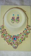Multi colour Diamante crystal Necklace & earrings set wedding prom new set F